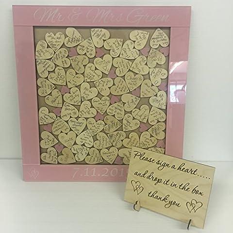 Personalised zucchero filato rosa libro degli ospiti per matrimonio a forma di cuore Box rustico 144Cuori, regalo per anniversario di matrimonio rustico Shabby Chic, 50x 50