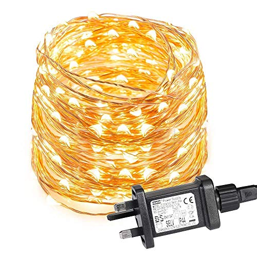 LOUX 10m 100 LED Copper Wire Lights, IP65 Waterproof Plug in Fairy Lights, Warm White Decorative String Lights for Party, Wedding, Garden and More