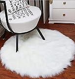 ZEZKT-Home Lammfellimitat Teppich✿Lammfellimitat Teppich Longhair Fell Optik Nachahmung Wolle Bettvorleger Sofa Matte✿30*30CM / 45*45CM ✿fürs Wohnzimmer, Esszimmer, Schlafzimmer oder Kinderzimmer (Weiß, 45*45)