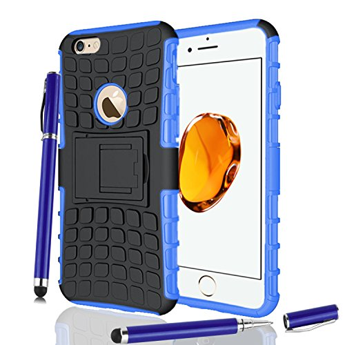 Apple iPhone 7Plus, Armor Case Tough Rugged Shock proof Armorbox Dual Layer Heavy Duty Carrying Hybrid Hard Slim Protective Case For iPhone 7 (with Kickstand) + 2in1 Touch Pen + Screen Protector-Pink Blue