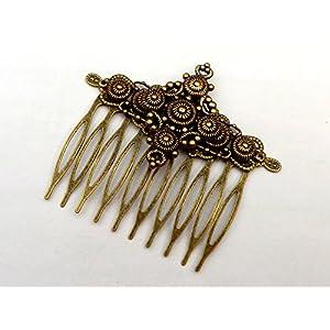 Haarkamm im Antik Stil mit Messingornamenten