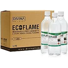 Divina Fire x12 Bioetanolo da 1lt combustibile ecologico naturale inodore camino biocamino