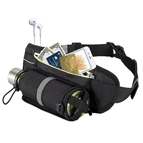 Everwell Unisex-Adult Multifunktionale Wasserdicht Gürteltasche mit Reißverschluss Bauchbeutel für Trinkflasche für Sport Laufen Joggen Fahrradfahren Trinkgürtel, Schwarz