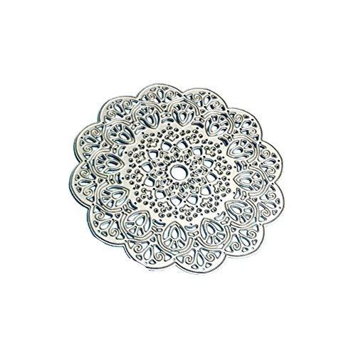 Kuizhiren1 Stanzschablone, rund, Blumen-Spitzen-Design, Metall, zum Basteln, Scrapbooking, Papier und Karten Wireless Ready Kit