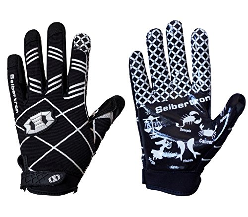 Seibertron Pro 3.0 Elite Ultra-Stick Sports Receiver Glove Football Gloves Youth and Kids Black L