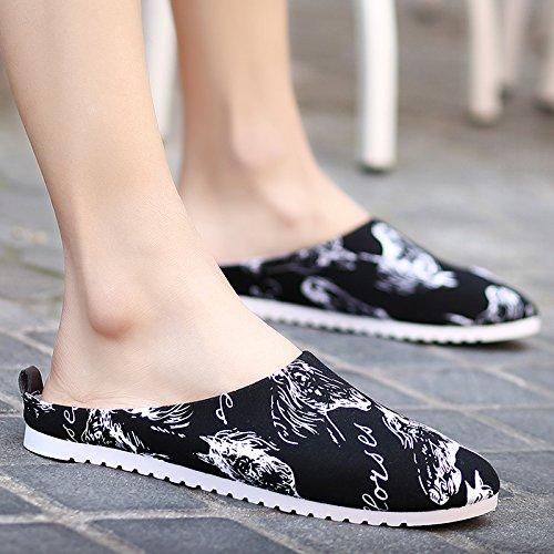 Des hommes dété , Chaussons, mens casual hommes sandales, chaussures, paresseux Baotou outdoor cool mop, la moitié des chaussons 689- black