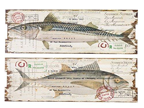 Lot de 2 oeuvres murales sur bois - motif poissons/« Fishing »