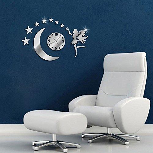 Vetrineinrete® orologio da parete adesivo sticker componibile tridimensionale 3d effetto specchio moderno decorazione murales fata stelle luna 0448s