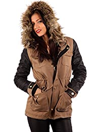 Young Fashion Winter Hooded Parka Khaki Teddy Lining