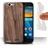 Carcasa/Funda STUFF4 TPU/Gel para el Huawei Ascend G7 / serie: Efecto de grano de madera/patrón - Nogal