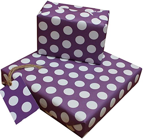 re-wrapped-1Bogen mit 2passenden Swing Tags von Umweltfreundlich recyceltem Geburtstag Geschenkpapier,-Polka Dot Lila von UK Designer Daniel freizeitmöglichkeiten Lazaro