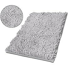 Lussuoso Tappetino da Bagno,Tappeto Antiscivolo da Bagno Scendi Doccia in Microfibra Ciniglia , Dimensione:50x80cm (Grigio)