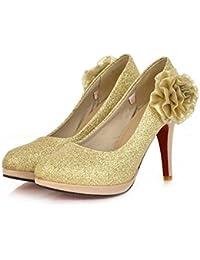 Women Es High Heels PU Matte Sexy Mode Charm Blume Round Toe Stiletto Heels Braut Hochzeit Schuhe Pumps Golden...