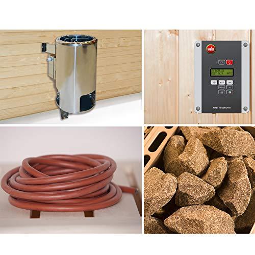 Weka Saunaofen-Set 5 inkl. 3,6 kW BioAktiv Ofen mit Dampfbad-Funktion, Anschlusskabel, Saunasteine, Steuergerät