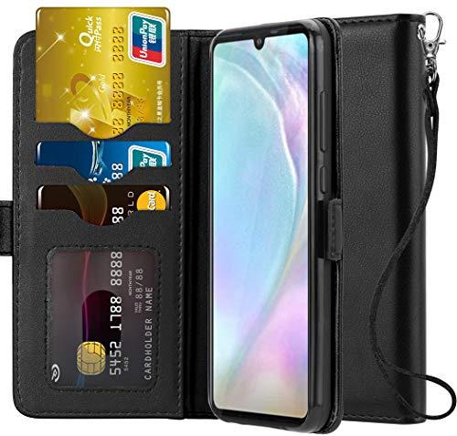 Ferilinso Hülle Kompatibel mit Huawei P30 Lite, Elegantes Echtes Leder mit ID Kreditkarten-Slots Halter Flip Cover Stand Magnetic Closure Case für Huawei P30 Lite (Schwarz) -