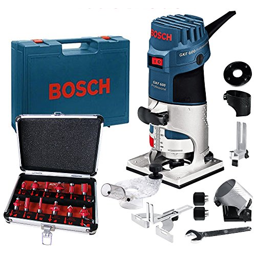 Bosch GKF600 Palm Router Kit And Extra Base 240v + Excel 12 Piece Cutter Set