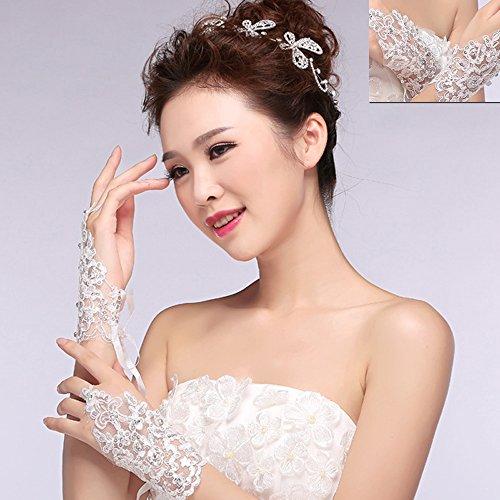 FuSon kurze Spitze Fingerlose Rhinestone Brauthandschuhe, Handschuhe für Hochzeitsfeier Braut, Hochzeit (Kostüm Weiße Handschuhe Bulk)