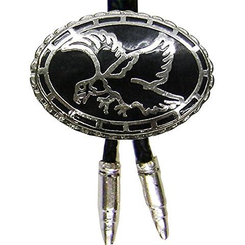 Modestone Men's Bolo Black Eagle & Silver Bullets O/S Silver