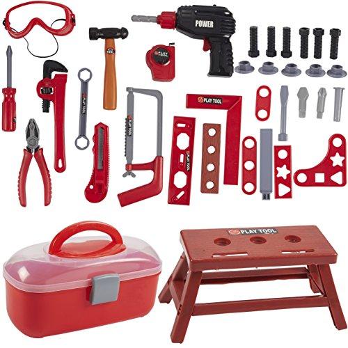 s Set - 40 Stück Kleinkind Drill Box Pretend Play Bau Zubehör mit Fall für fantasievolles Spiel, Halloween Dress up, Schule Spielen für Jungen und Mädchen ()