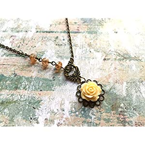 Beautiful brass necklace with a romantic pale yellow rose pendant and rust colour glass beads, nature jewellery gifts, Selma Dreams
