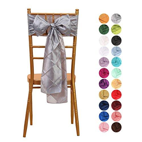 veeyoo 10015,2x 274,3cm Pintuck Stuhl, Schärpen Band Bögen Cover für Hochzeit Party Dekoration Weiß, Textil, silber, Einheitsgröße (Pintuck Band)