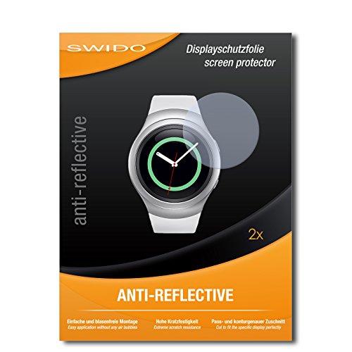 SWIDO Schutzfolie für Samsung Gear S2 Classic [2 Stück] Anti-Reflex MATT Entspiegelnd, Hoher Härtegrad, Schutz vor Kratzer/Bildschirmschutz, Bildschirmschutzfolie, Panzerglas-Folie