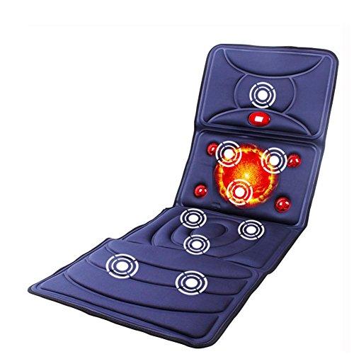 (FAI Massage-Matratze Elektrisch Vibrator Voll Körper Infrarot Physiotherapie Massagegerät Kissen Hitze Vibration Sitz Dunkel blau)