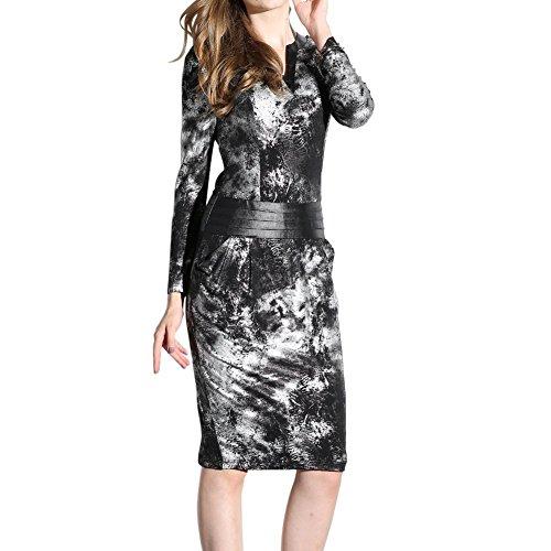 Oulu® Donne V-line sottile Vintage grigio Vestito longuette OW272568