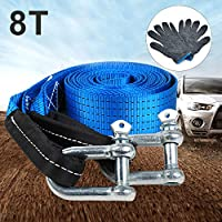 TOOGOO 5M 8 Tons Towing Rope Strape Cable with U Hooks Shackle High Strength Nylon with Reflective Light for Car Truck Trailer SUV