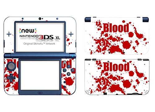 Skins4u Nintendo New 3DS XL Skin Aufkleber Skin Folie Design Sticker komplett Set Schutzfolie - Blood Crime White (Video-spiel-skins)