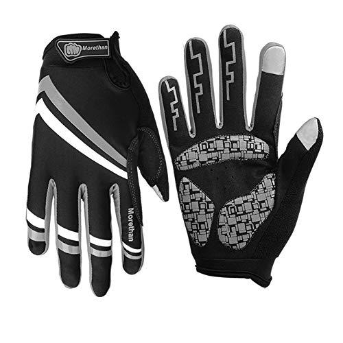 ZWYY Radfahrhandschuhe, volle Finger Sport Shockproof Handschuhe Touch Screen Mann Frau Fahrrad Langen Finger Handschuhe für Workout Fitness Training,E,L