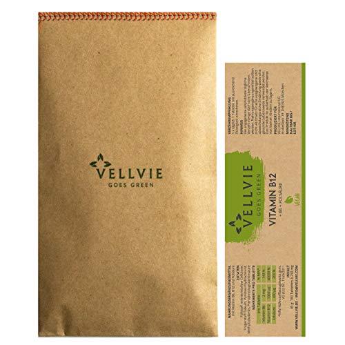 Vitamin B12 + B6 + Folsäure Vegan, Nachhaltig & PLASTIKFREI | 180 1000µg B12 + B6 + Folsäure Tabletten hochdosiert mit aktiver Formen Methyllcobalamin | NACHFÜLLPACK von VELLVIE Goes Green