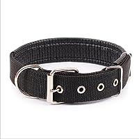 Ecloud Shop Duradero y cómodo para mascotas collar de perro sólido clásico collar de perro de nylon poliéster básico 2.5 * 55cm Negro