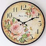 Asbjxny Paris Handgezeichnete Hölzerne Elektronische Wanduhr Mit Rosa Uhren Wanduhr Frühling12inch