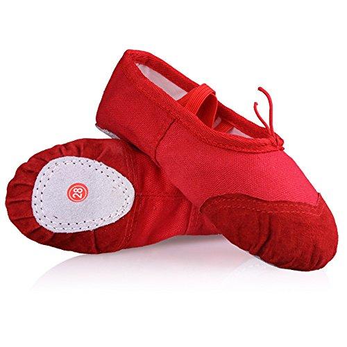 Eastlion Soft Canvas Ballett Tanz flache Schuhe Tanzen Hausschuhe Gymnastik Schuhe Ballett Wohnungen für Frauen und Mädchen Praxis in EUR22-40 Rot