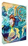 Feel Good Art Leinwand leuchtenden Farben Abstrakt gehören des Künstlers Val Johnson Blumen/Vase 30x 20x 4cm kleine