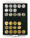 Münzenbox mit 35 Vertiefungen á 36 mm (Lindner 2135C), z.B. für 10 DM, 1/2 US-Dollar, 1 Rubel Alexander II, 1855-1881 (Silber), 1 Rubel Alexander III, 1881-1885 (Silber), 100 öS, 5 Reichsmark (Ag/Cu) - Ausführung: Carbo