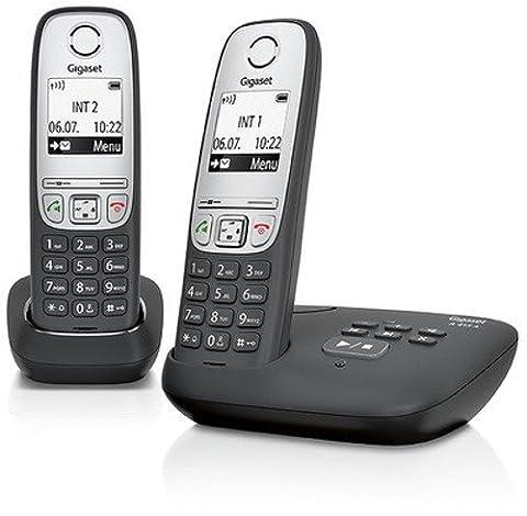 Gigaset A415A Duo Telefon / Schnurlostelefon / zwei Mobilteile mit Grafik Display - Dect-Telefon mit Anrufbeantworter / Freisprechfunktion - Analog Telefon - Schwarz