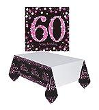 Feste Feiern Geburtstagsdeko Zum 60 Geburtstag | 17 Teile All In One Set Servietten Tischdecke Pink Schwarz Violett Weiss Party Deko Happy Birthday