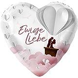 Hochzeits Folien - Luftballon bunt Ø 45cm, Motiv -Ewige Liebe - Aufdruck in Farbe, 2 seitiger Druck - Durchm. 45cm/18inch, Größe M Luftballon FOL-45-M Ballonverschlussventil im Ballon integriert.