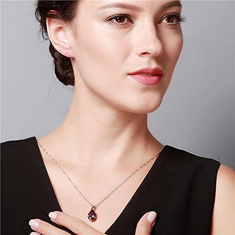 Wynce (TM) della collana di cristallo viola gioielli in argento 925 Colar Feminino ametista per le donne Collane Mujer pendente di goccia dell'acqua Ulove