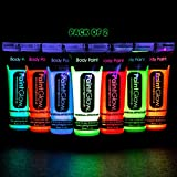 Party Propz Face Colour Paint | UV Blacklight Reactive Glow Face and Body Paint | Set of 2 Neon Fluorescent Tubes