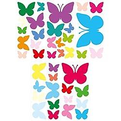 Wandtattoo Kinderzimmer Wandsticker Set Bunte Schmetterlinge Stück zum Kleben W