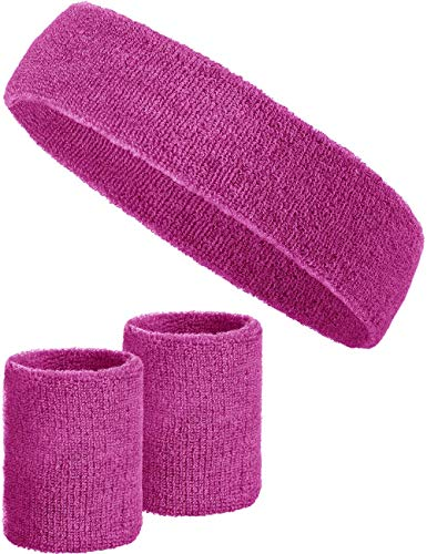 Mädchen Tennis Kostüm - Balinco 3-teiliges Schweißband-Set mit 2X Schweißbändern für die Handgelenke + 1x Stirnband für Damen & Herren (Pink)