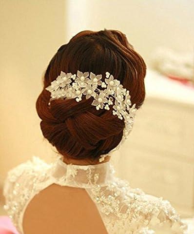 Losuya® handgefertigt Perle Braut Kopfschmuck Hochzeit Zubehör Haarspange Haar Hoop