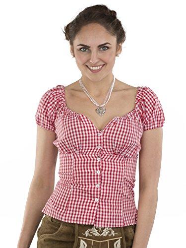 Trachtenbluse Damen Wiesnzeit rot/weiss - Dirndl Lederhose Bluse - Trachten Carmenbluse (36, rot/weiss)
