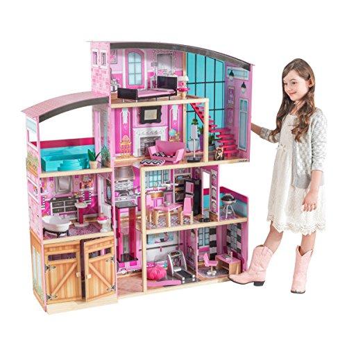 KidKraft 65949 Shimmer Mansion Puppenhaus aus Holz mit Zubehör für 30cm große Puppen mit 30 Accessoires und 4 Spielebenen
