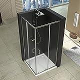 80 x 90 x 195 cm Duschabtrennung Schiebetür Dusche Duschkabine NANO Glas Eckeinstieg Eckdusche