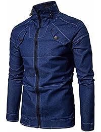 POachers Blousons Homme Col Montant Solid Couleur Veste en Jean à Manches  Longues Manteau Zipper Outwear 86c6148dd338