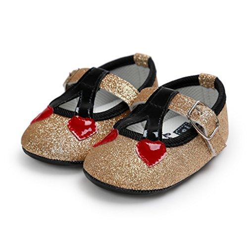 Baby Schuhe, Auxma Baby-bequeme AntiSlip Prinzessin-Kleinkind-Schuhe (12cm(6-12M), Rot) Gold